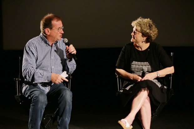 Moderator Pete Hammond from Deadline.com with producer Bonnie Arnold.]