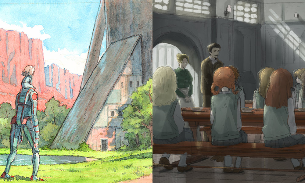 Concept art for Netflix Anime's Eden (left) and untitled Grimm's fairy tales project from CLAMP.