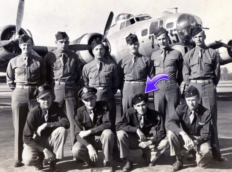 Writer Edward Field with his B-17 crew.