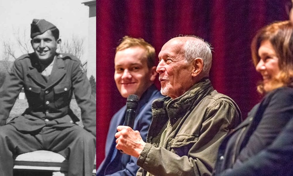 Lt. Edward Field in 1945 (left) and at a recent panel for the film, with Piotr Kabat and Diane Weis.