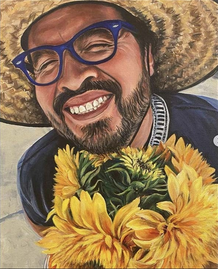 Painting of Edwin Aguilar by his wife, Marike.