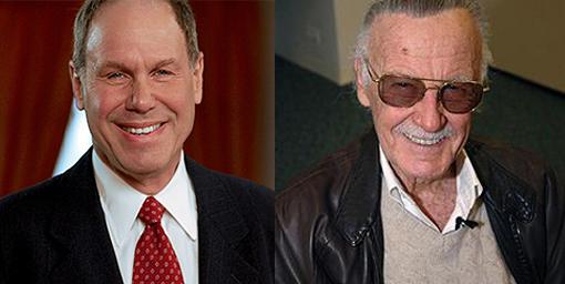 Michael Eisner (left) and Stan Lee