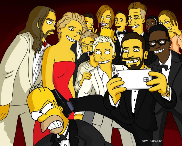 Ellen's Oscar Selfie is Simpsons-ized