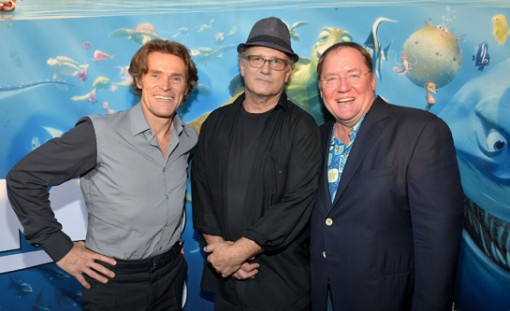 Willem Dafoe, Albert Brooks and John Lasseter at the premiere of Finding Nemo 3D at the El Capitan Theater in Hollywood