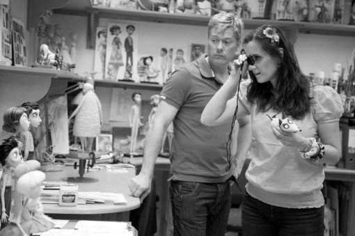 Frankenweenie Producer Allison Abbate reviews characters in the Sculpting Department with Ian Mackinnon.