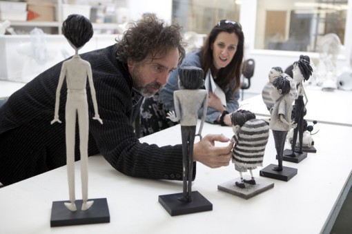 Frankenweenie Director Tim Burton reviews the character maquettes in the Puppet Hospital with Producer Allison Abbate