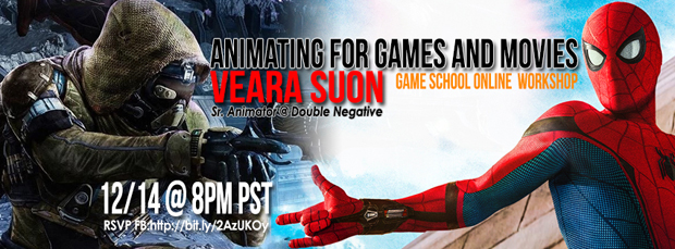 """Game School Online Workshop: """"Animating for Games and Movies"""" with Veara Suon"""
