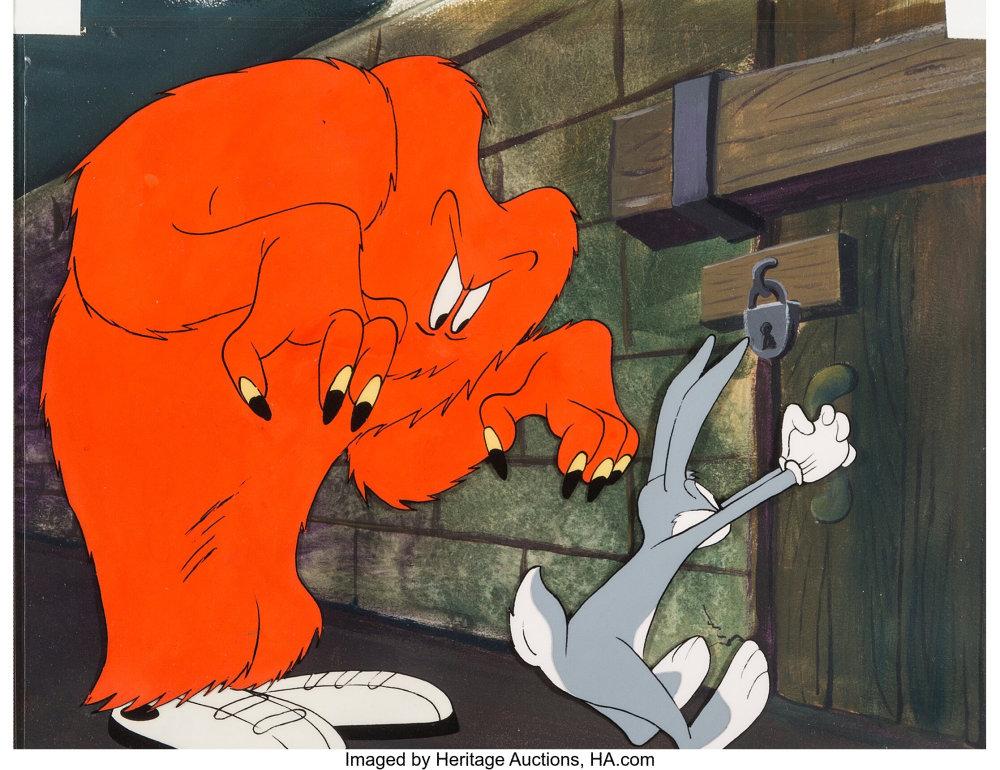 Hair-Raising Hare Bugs Bunny and Gossamer Production Cel