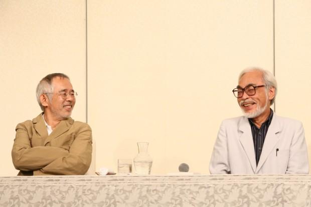 (from left) Toshio Suzuki and Hayao Miyazaki