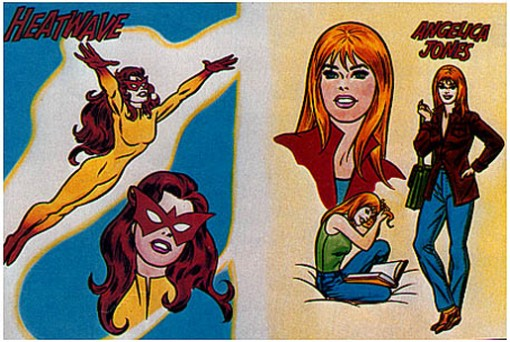 "Romita's 1981 presentation sketch for ""Heatwave,"" later ""Firestar,"" complete with airbrushed colors."