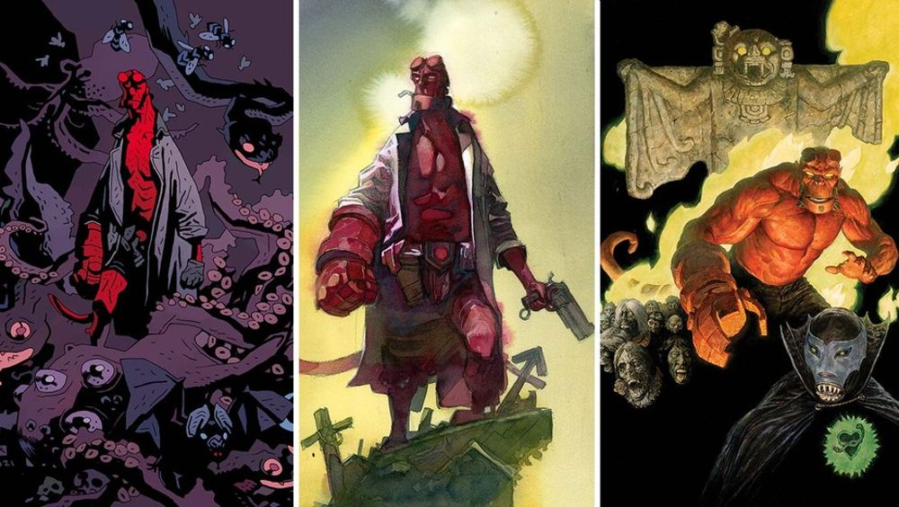 (L-R) Hellboy prints by Mike Mignola, Alex Meleev and Paolo Rivera