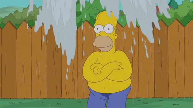 Homer Simpson takes the Ice Bucket Challenge