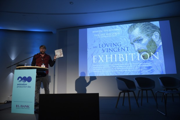 Writer-director Hugh Welchman presenting a cast study on Loving Vincent at Animation Production Day