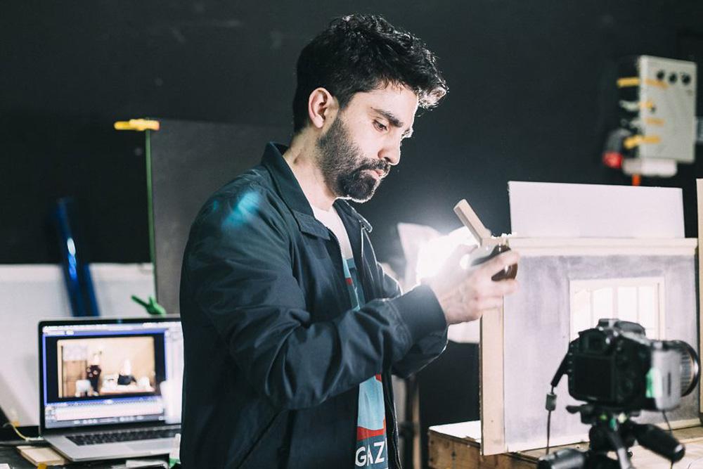 Hugo Covarrubias on set.