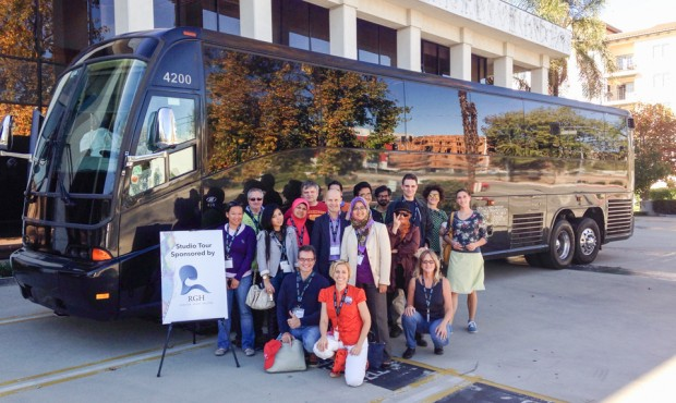 Summit attendees pose for a quick photo on their Nov. 5 studio tour, which visited Cartoon Network Studios in Burbank, Mousetrappe in Burbank and RGH Themed Entertainment in Woodland Hills.