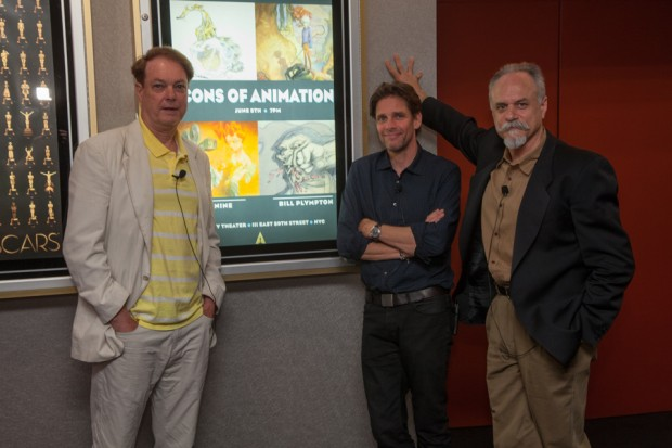 Bill Plympton, Peter de Seve and J.J. Sedelmaier at the Icons of Animation event June 5 in New York.