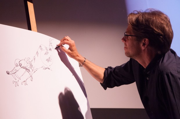 De Seve draws Scrat from Ice Age at the Icons of Animation event June 5 in New York.