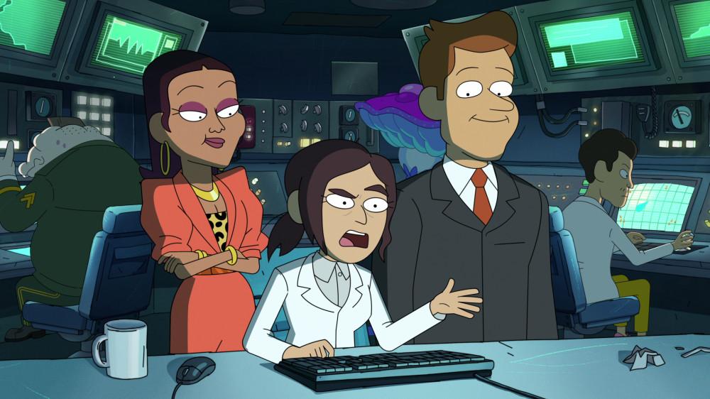 L-R: Tisha Campbell voices Gigi, Lizzy Caplan voices Reagan and Clark Duke voices Brett in Inside Job.