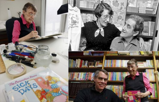 (left) Jan Berenstain (top right) Jan with husband Stan Berenstain and (bottom right) Jan with son Mike Berenstain