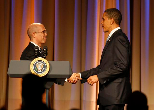 (from left) Jeffrey Katzenberg and President Barack Obama