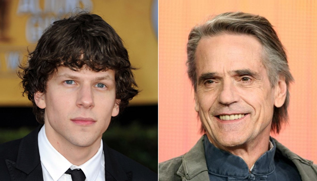 (from left) Jesse Eisenberg and Jeremy Irons