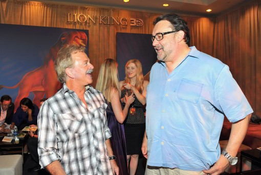 "HOLLYWOOD, CA - AUGUST 27:  Actor Jim Cummings and producer Don Hahn attend ""The Lion King"" Los Angeles 3D Premiere after party at the Annex at Hollywood & Highland on August 27, 2011 in Hollywood, California.  (Photo by Alberto E. Rodriguez/WireImage)"