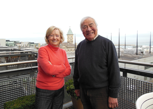 Jimmy Murakami and his wife, Ethna, on the balcony of their apartment in Dun Laoghaire, Dublin, Ireland, in December 2012. Photo courtesy of Patrick Gleeson.
