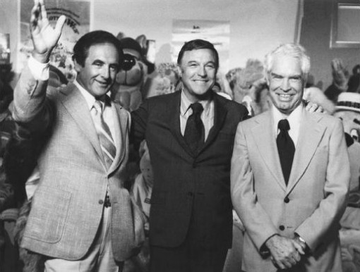 (from left) Joe Barbera, Gene Kelly and William Hanna