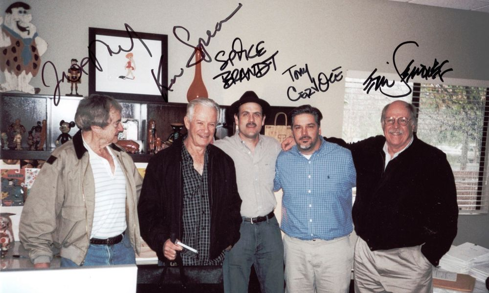 Joe Ruby and Ken Spears (far left) with colleagues Spike Brandt, Tony Cervone and Eric Semones.