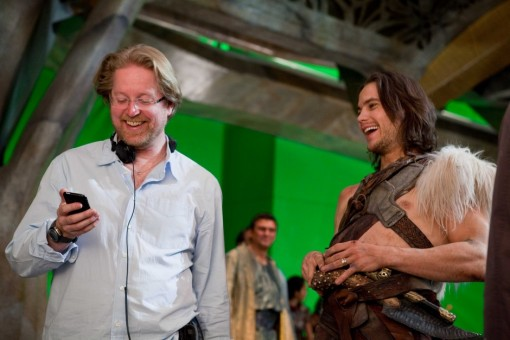 Andrew Stanton (director) and Taylor Kitsch (Carter) share a joke between set ups