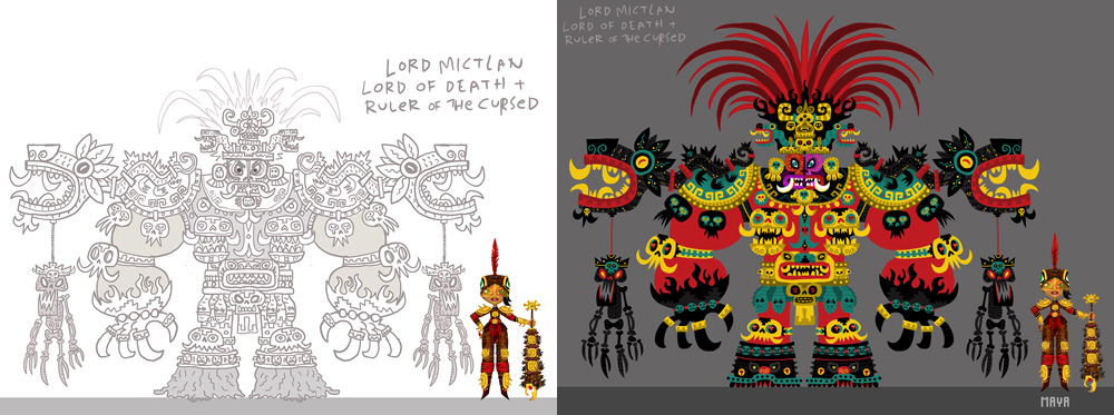 Character development sketches for Lord Mictlan by Jorge Gutiérrez for Maya and the Three.