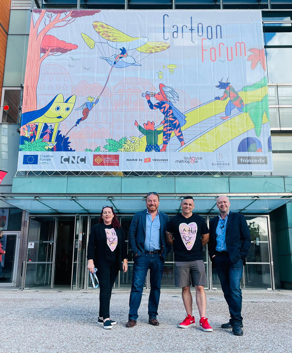 L-R: Juelie McLoughlin, Gary Timpson, David King and Andrew Kavanagh at Cartoon Forum 2021 in Toulouse, France.