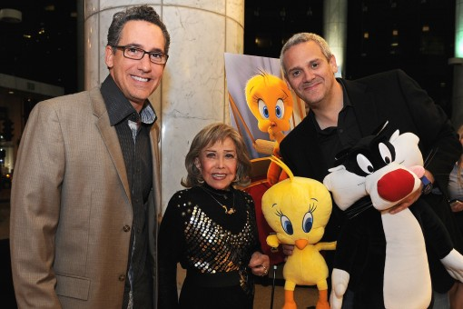 Matthew O'Callaghan (left), June Foray (center) and Warner Bros. Animation's Sam Register (right), with Tweety Bird and Sylvester the Cat at an evening celebrating June Foray and the new Looney Tunes 3D theatrical short I Tawt I Taw a Puddy Tat, debuting in theaters on November 18, in conjunction with Warner Bros. Pictures' release of Happy Feet Two. (Photo Credit: Mitch Haddad © Warner Bros. Entertainment Inc. All Rights Reserved)