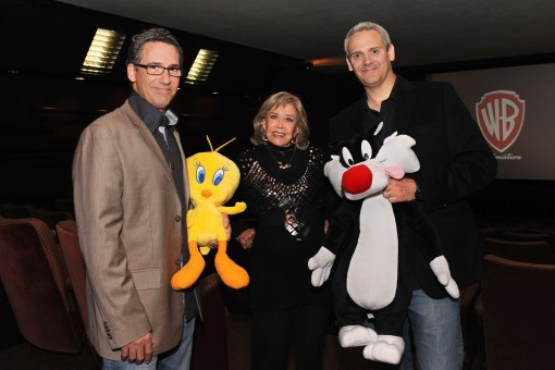 Matthew O'Callaghan (left) with Tweety Bird, June Foray (center) and Warner Bros. Animation's Sam Register (right) with Sylvester the Cat at an evening celebrating June Foray and the new Looney Tunes 3D theatrical short I Tawt I Taw a Puddy Tat, debuting in theaters on November 18, in conjunction with Warner Bros. Pictures' release of Happy Feet Two. (Photo Credit: Mitch Haddad © Warner Bros. Entertainment Inc. All Rights Reserved)