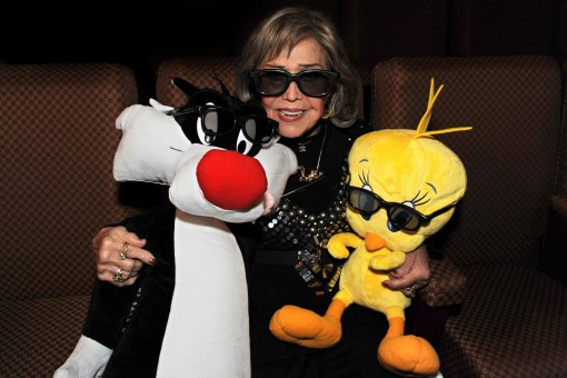 Legendary animation voice performer June Foray (voice of Granny) with Sylvester the Cat and Tweety Bird in their 3D glasses at an evening celebrating her incredible career and the new Looney Tunes 3D theatrical short I Tawt I Taw a Puddy Tat, debuting in theaters on November 18, in conjunction with Warner Bros. Pictures' release of Happy Feet Two. (Photo Credit: Mitch Haddad © Warner Bros. Entertainment Inc. All Rights Reserved)
