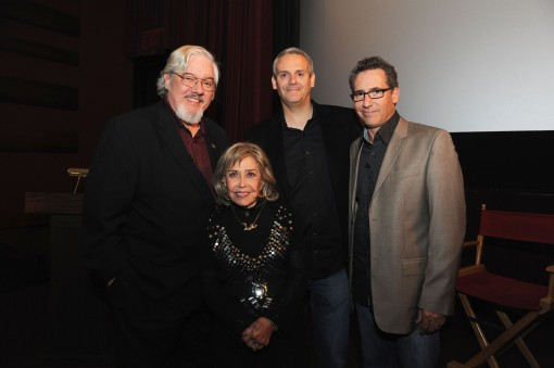 The Gang's All Here! Renowned animator/animation scholar Tom Sito (left), legendary animation voice performer June Foray (voice of Granny), Warner Bros. Animation's Sam Register and director Matthew O'Callaghan (right) at an evening celebrating June Foray and the new Looney Tunes 3D theatrical short I Tawt I Taw a Puddy Tat, debuting in theaters on November 18, in conjunction with Warner Bros. Pictures' release of Happy Feet Two. (Photo Credit: Mitch Haddad © Warner Bros. Entertainment Inc. All Rights Reserved)