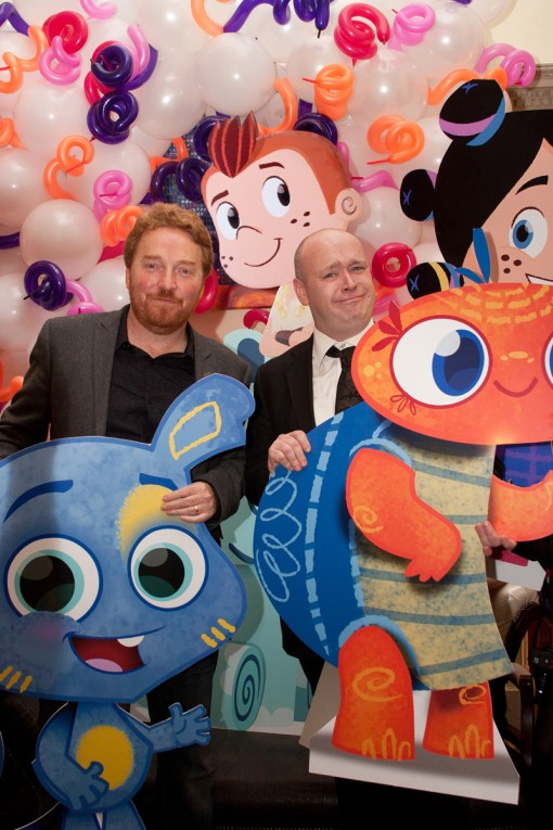 Gary Timpson (Managing Director and Producer, Kavaleer) and Andrew Kavanagh (CEO and Founder, Kavaleer) pictured with their Bedhead characters Quilty and Scrunch and Garth and Bev at Kavaleer's 10th Birthday Celebrations this week.