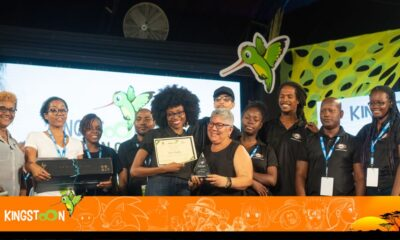 Kenia Mattis (center) and the ListenMi crew, Best Concept winners at KingstOOn 2019.