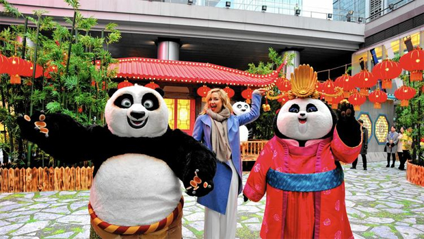 Kung Fu Panda 3 is projected to become a global hit for DreamWorks Animation. Above, actress Kate Hudson and characters Po and Mei Mei promote the film in China last week. (ChinaFotoPress via Getty Images)