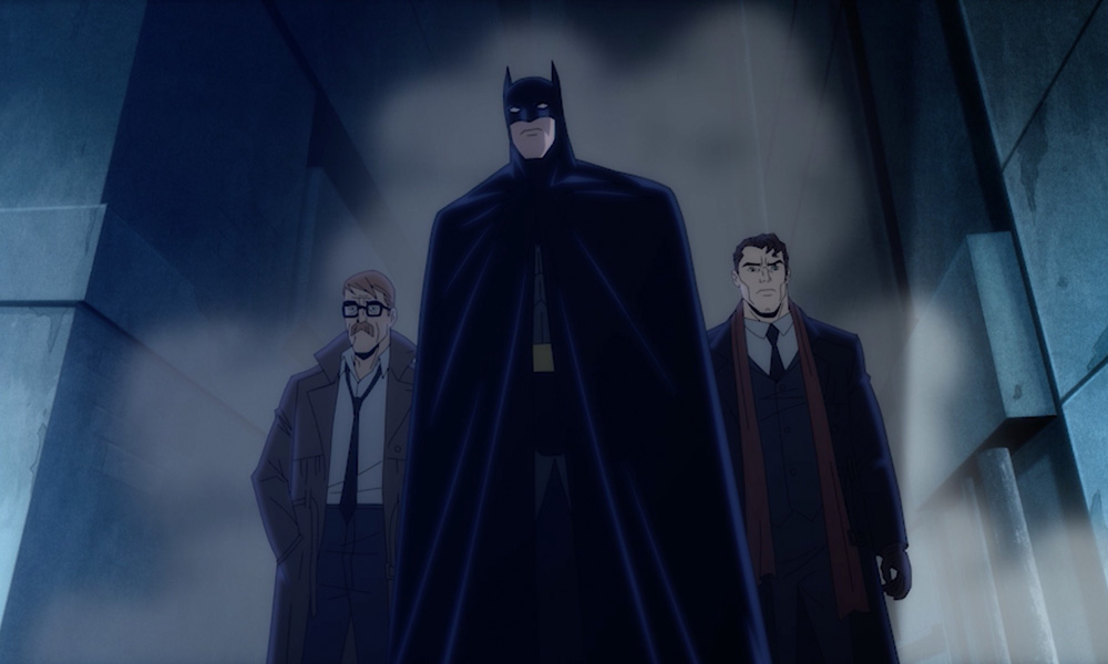 Central to the story of Batman: The Long Halloween, Part One are its primary protagonists: Batman/Bruce Wayne (Jensen Ackles), Police Captain James Gordon (Billy Burke) and District Attorney Harvey Dent (Josh Duhamel). © 2021 Warner Bros. Entertainment Inc. BATMAN and all related characters and elements TM & © DC.