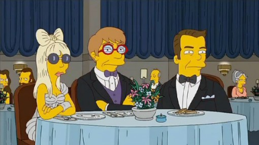 Lady Gaga with Elton John on The Simpsons