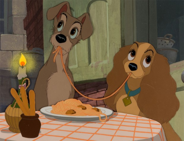 Lady and the Tramp Production Cel with Master Pan Background Setup (Walt Disney, 1955)