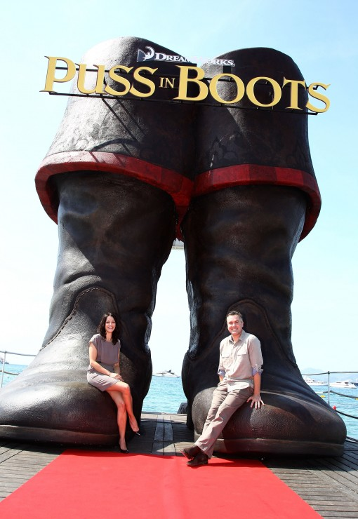 Latifa Ouaou (left) and Puss in Boots Director Chris Miller