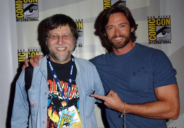 "Len Wein, shown here with ""Wolverine"" star Hugh Jackman at Comic-Con in 2008."