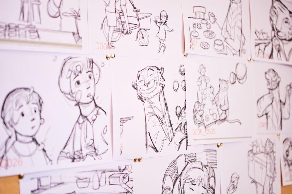 Keyframe sketches on display at Lupus Films.