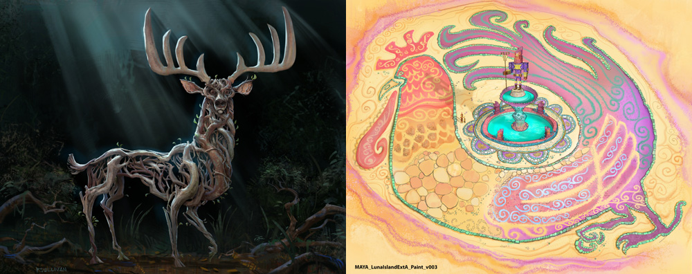 """Concept paintings of an enchanted forest deer (left) and a painted plaza detail from """"Luna Island,"""" a key location in Maya and the Three."""