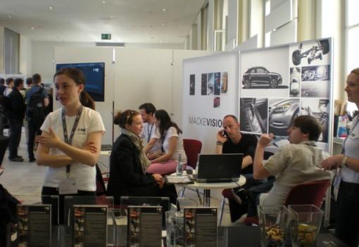 The Mackevision demo booth attracts tech aficionados at FMX 2013.
