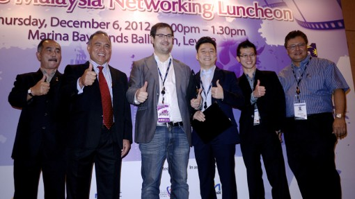 (from left to right): FINAS acting director general Raja Rozaimie Dalnish Shah and chairman Datuk Md Afendi Datuk Hamdan, Motion Pictures int'l sales & co-pro manager Xavi Mas, Young Jump Animation managing director TS Leow and exec producer Steven Lim, and Kamil Othman from MDeC Creative Industry Development