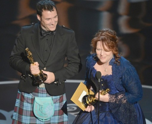 Brave directors Mark Andrews and Brenda Chapman accept the Oscar for Best Animated Feature.