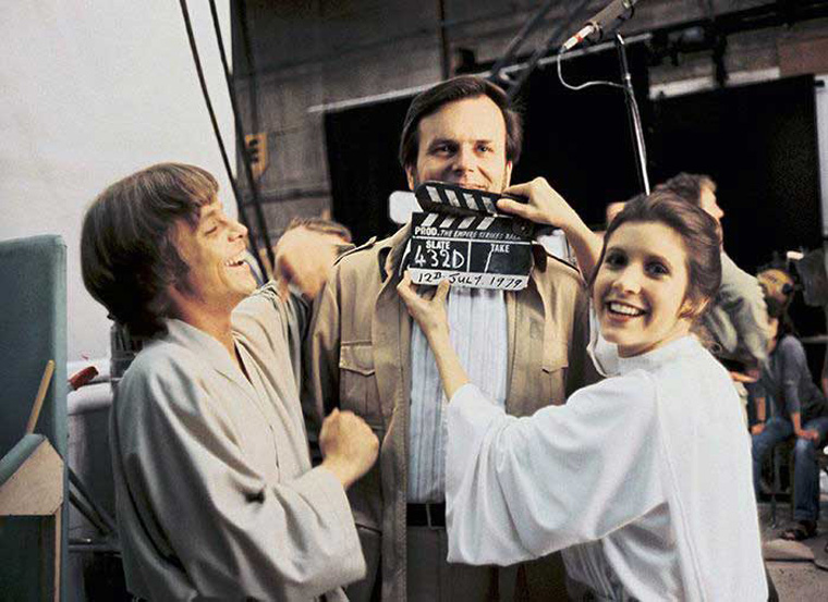 Mark Hamill, Gary Kurtz, and Carrie Fisher on the set of The Empire Strikes Back